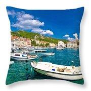 Coastal Town Of Hvar Waterfront Panorama Throw Pillow