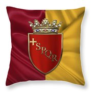 Coat Of Arms Of Rome Over Flag Of Rome Throw Pillow by Serge Averbukh
