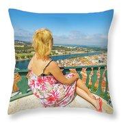 Coimbra Cityscape Woman Throw Pillow