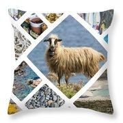 Collage Of Crete  Throw Pillow