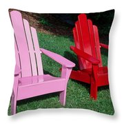 colorful Adirondack chairs Throw Pillow