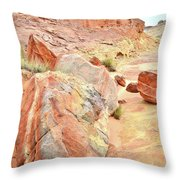 Colorful Boulders In Wash 3 In Valley Of Fire Throw Pillow