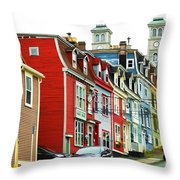 Colorful Houses In St. Johns In Newfoundland Throw Pillow