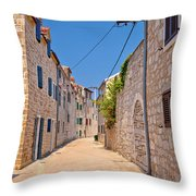 Colorful Mediterranean Stone Street Of Prvic Island Throw Pillow
