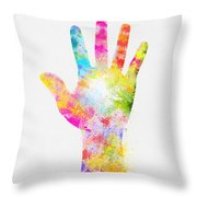 Colorful Painting Of Hand Throw Pillow