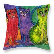 Colourful Cats Throw Pillow