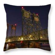 Columbia Crossing I-5 Interstate Bridge At Night Throw Pillow