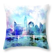 Columbus  Watercolor Skyline Throw Pillow