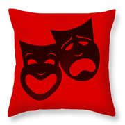 Comedy N Tragedy Red Throw Pillow