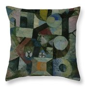 Composition With The Yellow Half-moon And The Y Throw Pillow