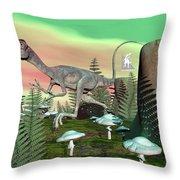 Compsognathus Dinosaur - 3d Render Throw Pillow