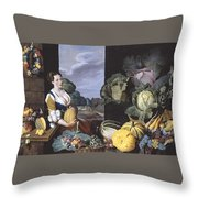 Cookmaid With Still Life Of Vegetables And Fruit Throw Pillow