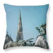 Copenhagen Gefion Fountain Throw Pillow