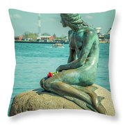 Copenhagen Little Mermaid Throw Pillow