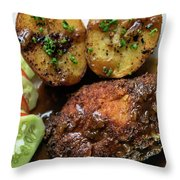 Cordon Bleu Breaded Fried Chicken Gravy And Potatoes Meal Throw Pillow