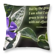 1 Corinthians 15 Vs 10 Lavender Blossom Throw Pillow