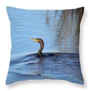 Cormorant In The Marsh Throw Pillow