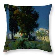 Corner Of The Garden, Alcazar, Sevilla Throw Pillow