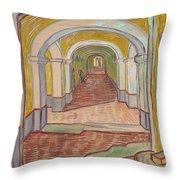Corridor In The Asylum Throw Pillow