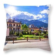 Cortina D' Ampezzo Street And Alps Peaks Panoramic View Throw Pillow