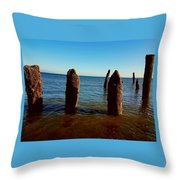 Costal Pilings  Throw Pillow