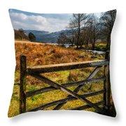 Countryside Gate Throw Pillow