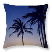 Couple And Sunset Palms Throw Pillow