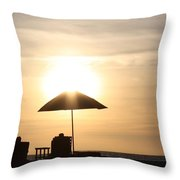 Couple On The Beach At Sunset Throw Pillow
