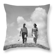 Couple Out Golfing, C.1930s Throw Pillow