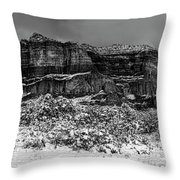 Courthouse Butte And Bell Rock Under Snow Throw Pillow