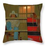 Cowboy On Porch Throw Pillow