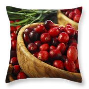 Cranberries In Bowls Throw Pillow