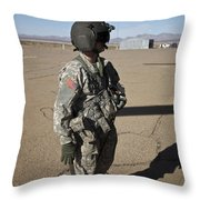 Crew Chief Of A Ch-47 Chinook Stands Throw Pillow