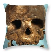 Cro-magnon Skull Throw Pillow