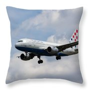 Croatia Airlines Airbus A319 Throw Pillow