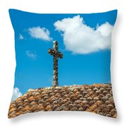 Cross And Tiled Roof Throw Pillow
