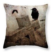 Cross With Crow Throw Pillow