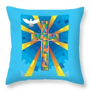 Cross With Dove Throw Pillow
