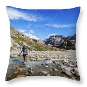 Crossing A River In Patagonia Throw Pillow