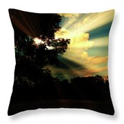 Cumulus Cloud At Dusk, Tree Silhouettes Throw Pillow