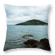 Cunski Beach And Coastline, Losinj Island, Croatia Throw Pillow