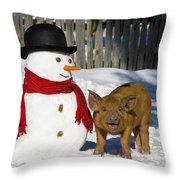 Curious Piglet And Snowman Throw Pillow