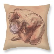 Curled Up Throw Pillow by Judith Kunzle