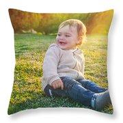 Cute Baby Boy Outdoors Throw Pillow