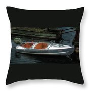 Cute Boat - 1948 Feather Craft Throw Pillow