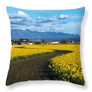 Daffodil Lane Throw Pillow