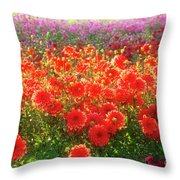 Dahlia Farm Throw Pillow