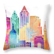 Atlanta Landmarks Watercolor Poster Throw Pillow