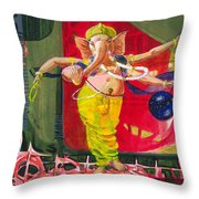 Dancing Ganapati With Universe And Abstract Back Ground Throw Pillow