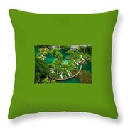 Dave Ruberto - Wonderful Green Nature Waterfall Landscape  Throw Pillow